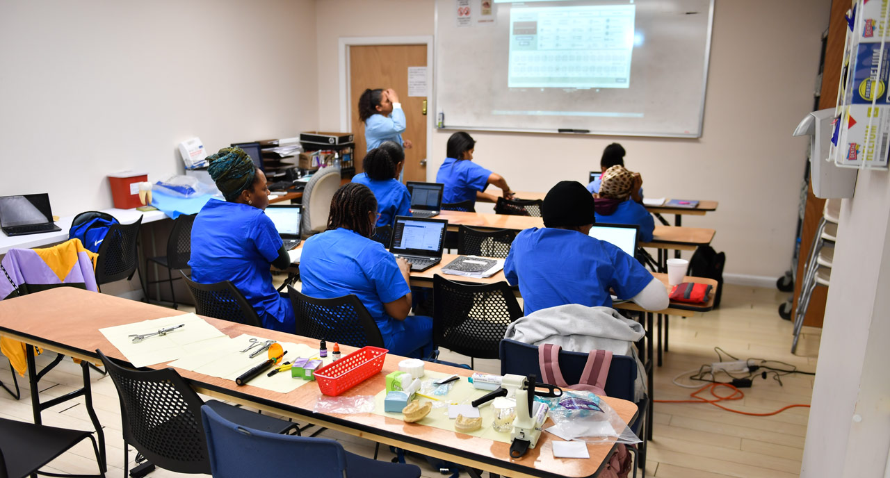 healthcare students in class